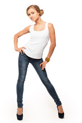 casual cute blonde woman wearing jeans and white top isolated  o