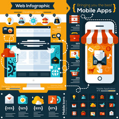set of flat design illustrations and flat icons for mobile phone