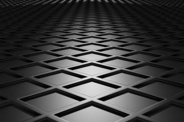 Metallic diamond flooring perspective view in dark