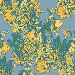 vector seamless pattern of fish