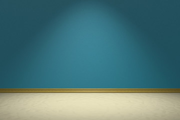 Empty room with blue wall under lamp