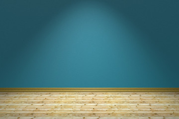 Empty blue room and wooden floor under lamp