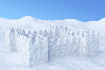 Toy show fort on snow under sky
