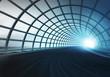 Leinwanddruck Bild - cross arch construction tunnel along speed track