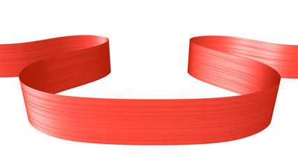 Red ribbon in the shape of horizontal loop