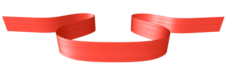 Red ribbon in shape of horizontal loop