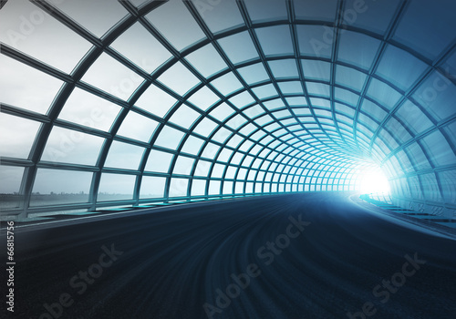 Leinwanddruck Bild cross arch construction tunnel along speed track