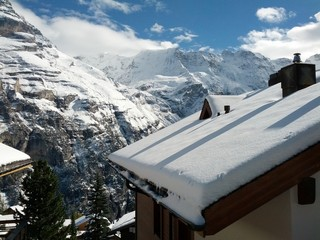 Rooftop snow Murren Switzerland