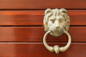 Lion door knocker of old Korcula house, Croatia