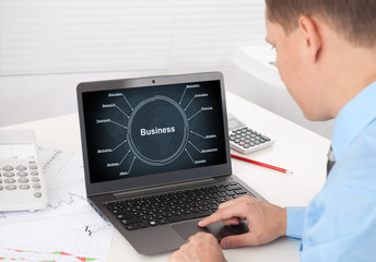 businessman with laptop. business strategy concept