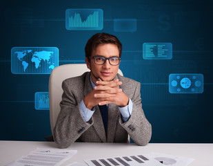 Businessman doing paperwork with digital background