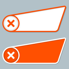 two orange boxes for any text with ban symbol