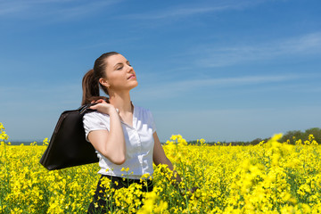 business woman at the flower field
