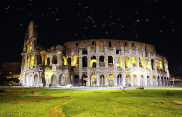 Colosseum in Rome against the night star sk