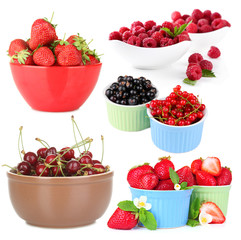 Collage of fresh berries isolated on white