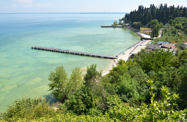 Beach of Sirmione town. Lake Garda, Italy