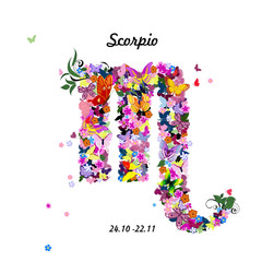 Pattern with butterflies, cute zodiac sign - scorpio