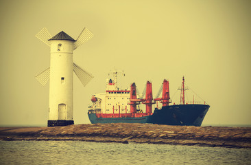 Ship entering port, vintage retro style.