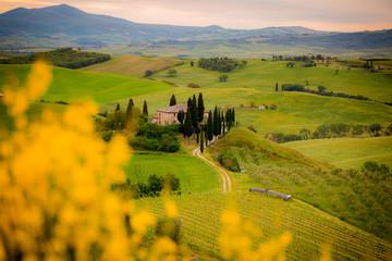 Toscana, paesaggio e podere al tramonto
