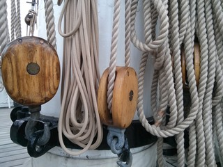 Rope pulleys Cutty Sark Tea clipper Greenwich