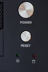 power and reset button on desktop pc panel