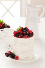 Cake with fresh berries, selective focus