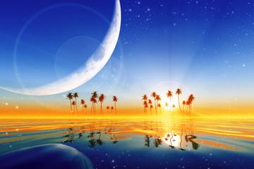 big moon over yellow sunset