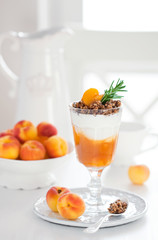 Yogurt with granola and apricots, selective focus