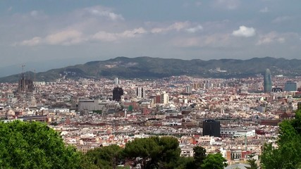 Types of Barcelona aerial view from the Montjuïc hill.