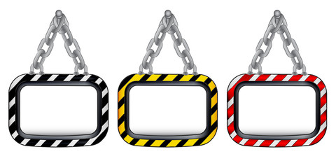 isolated hanged chain board striped color set vector