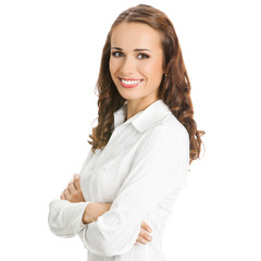 Portrait of happy business woman, isolated