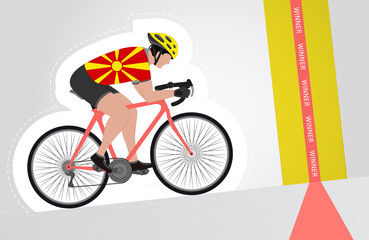 Macedonian cyclist riding upwards to finish line vector isolated