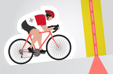Maltese cyclist riding upwards to finish line vector isolated
