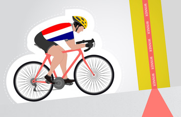 Dutch cyclist riding upwards to finish line vector isolated
