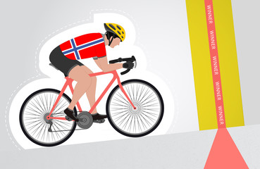 Norwegian cyclist riding upwards to finish line vector isolated