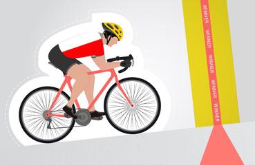 Polish cyclist riding upwards to finish line vector isolated