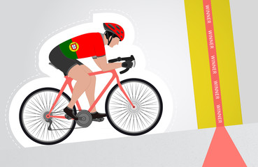 Portuguese cyclist riding upwards to finish line vector isolated