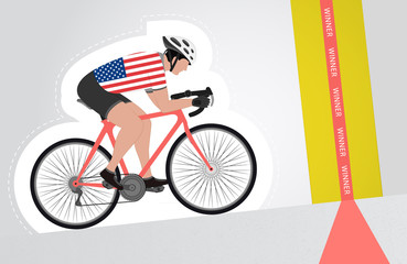 USA cyclist riding upwards to finish line vector isolated