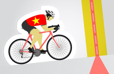 Vietnamese cyclist riding upwards to finish line vector isolated