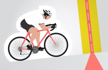white dressed cyclist riding upwards to finish line
