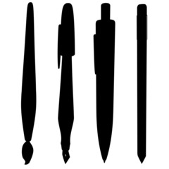 brush pen ballpoint pencil silhouette collection vector
