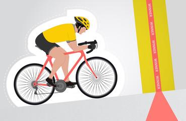 yellow dressed cyclist riding upwards to finish line
