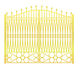 isolated on white closed golden gate fence vector
