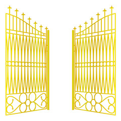 isolated open golden gate fence on white vector