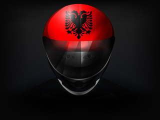 Albanian racer with flag on helmet vector closeup