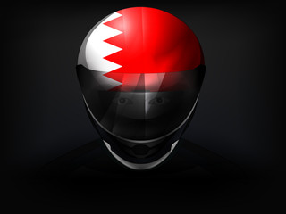 Bahrain racer with flag on helmet vector closeup