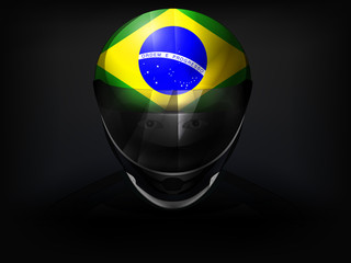 Brazilian racer with flag on helmet vector closeup