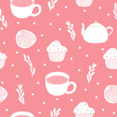 Tea time background. Cute seamless pattern