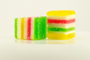 Two colorful candies fruit jelly on the white background
