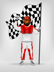 racer in helmet holding checked flag with hand up vector